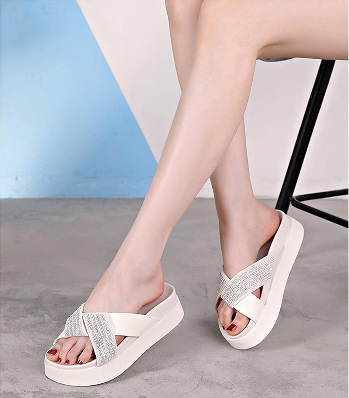 Womens Platform Sandals, Lightweight Anti-Slip Beach Pool Flip Flops Indoor Outdoor Slides Open Toe Summer Slippers (Color : White, Size : 39)