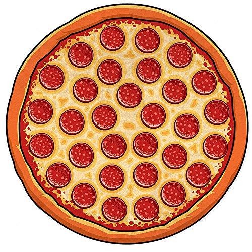 ZHANGDAN Manta Redonda de Toallas de Playa de Gran tamaño, Tema de Forma de Alimentos Toalla de Microfibra, Toalla Multiusos para Adultos y niños Toalla de Yoga Esteras de Picnic, 59 Pulgadas,Pizza