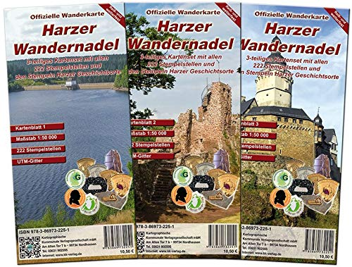 Harzer Wandernadel: Offizielles - 3-teiliges wetterfestes Kartenset