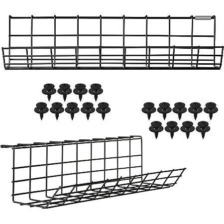 Plateau de gestion de câbles Sous Bureau – Gaine de rangement pour câbles informatiques. Passe-câbles en fil métallique pour bureau et maison (Noir - Lot de 2x 43cm)