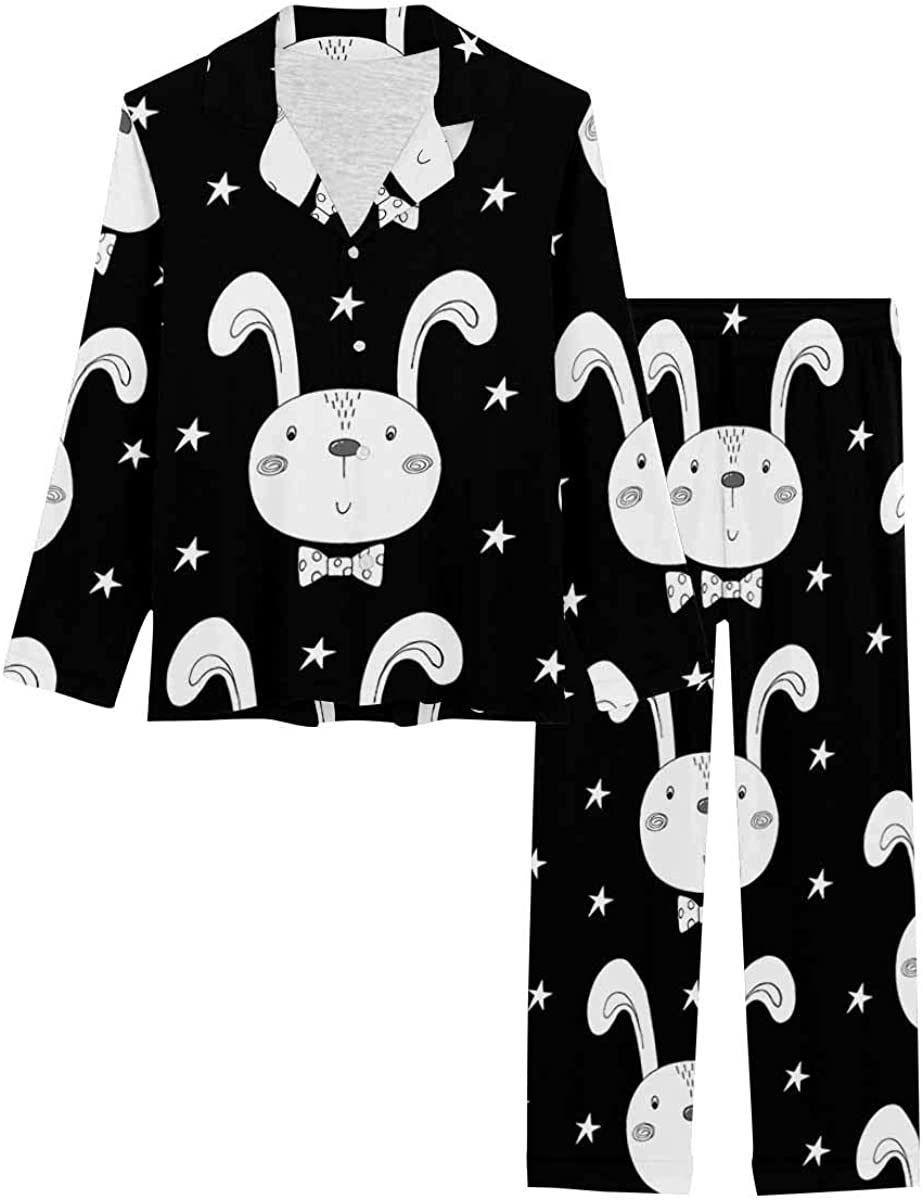 InterestPrint Long Sleeve Nightwear Button Down Loungewear for Women Cute Easter Bunny Faces