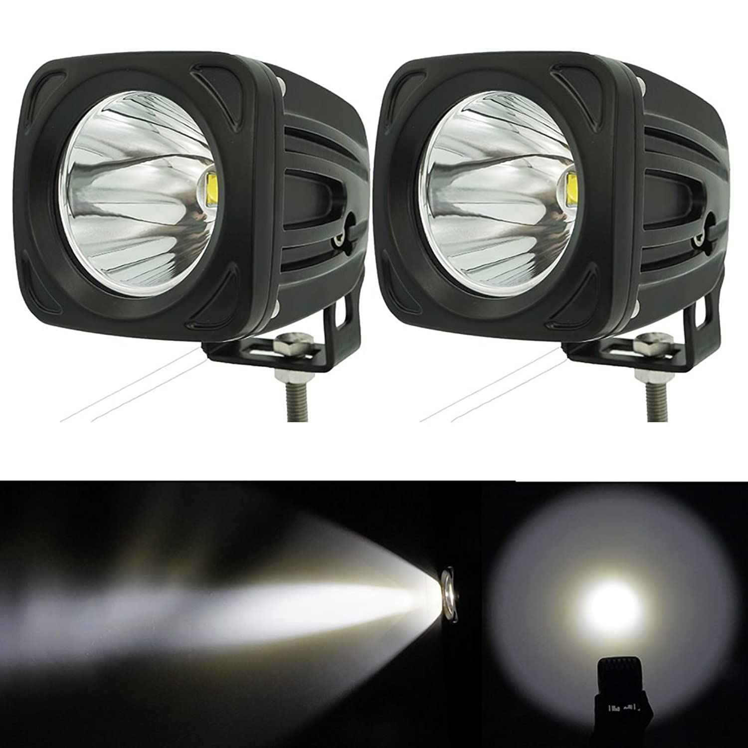 Spot Led Work Light White 25W 6000K Led Driving Spotlights Led Pod Working Lamp 12V for 4X4 4WD Tuuck Pickup Jeep Wrangler Windshield A Pillar Roof Light Front Bumper Light Fog Atv Offroad Motorcycle