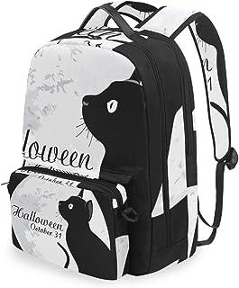 Mochila con bolsa cruzada desmontable, juego de mochila de Halloween con diseño de gato, para viajes, senderismo, acampada