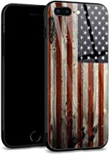 iPhone 8 Plus Cases, iPhone 7 Plus Case,9H Tempered Glass Back Shell Pattern Designed with Soft TPU Bumper Case Wood Flag for Apple iPhone 7/8 Plus Cases -Red Camo American Flag