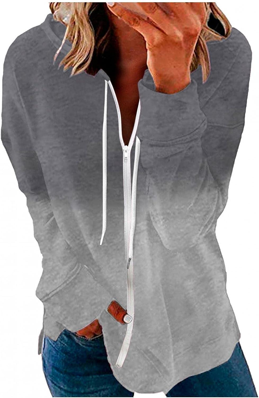 Aniwood Hoodies for Women Gradient Print Zip Up Hoodie Sweatshirt Casual Long Sleeve Drawstring Solid Jackets Coat