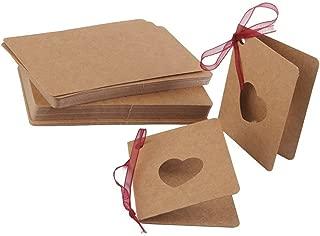 Vosarea 50PCS Etiquetas de regalo para recuerdos de boda Etiquetas de bricolaje Etiquetas colgantes de papel Kraft Tarjetas Etiquetas en blanco Etiqueta de equipaje Etiquetas de precio