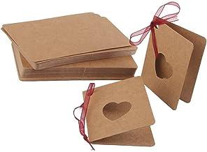 ULTNICE: 50 tarjetas de papel de estraza + cinta roja; para escribir mensajes, etiquetar regalos, adornar bodas o cumpleaños...