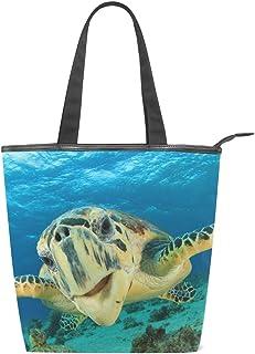 alaza Tote Canvas Schultertasche Sea Turtle Handtasche