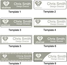Ebamaz Employee Name Tag Stainless Steel Business Nameplate ID Badge 70x20mm (1PCS, Personalized, Silver)