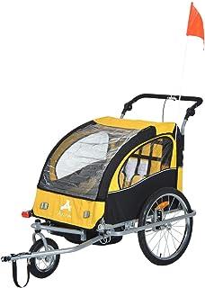 Aosom 2-in-1 Double Child Baby Bike Trailer Stroller & Jogger (Black/Yellow)