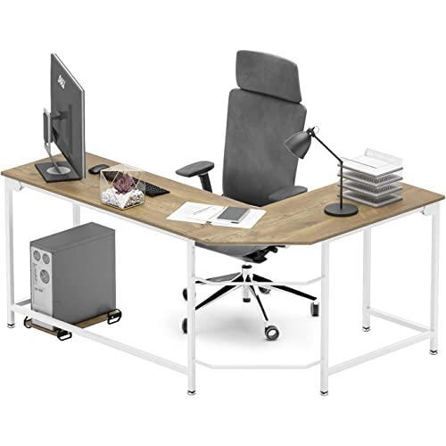 5 Tiers L-Shape Desk and Shelve 60/'/' x 96/'/' Laptop Desk,Solid Wood /& Iron Pipe Computer Desk,Wall Pipe Desk Computer Table   Free Shipping