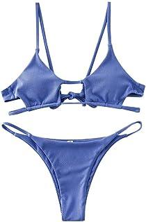 ZAFUL Women Swimsuit Ribbed Cutout Bathing Suit Shell Halter High Cut Bikini Set
