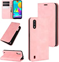 For Samsung Galaxy M01 Retro-skin Business Magnetic Suction Leather Case with Holder & Card Slots & Wallet Waterproof (Color : Pink)