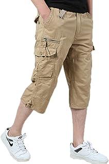 Elonglin Men's Cropped Cargo Summer Combat Shorts Casual Cotton Outdoor Work Shorts Multi-Pocket
