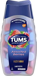 Tums Ultra Strength 1000 Assorted Berries Antacid/Calcium Supplement Chewable Tablets , 160 CT (Pack of 4)
