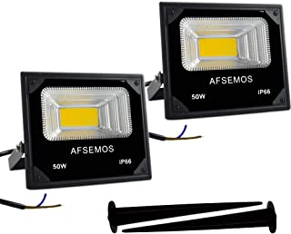 AFSEMOS 50W 12-60V DC LED Flood Light(2 Pack) Outdoor,4500K Lighting Warm White IP66 Waterproof Landscape Light for Walls,Garden,Lighting Stage,Garage,Yard