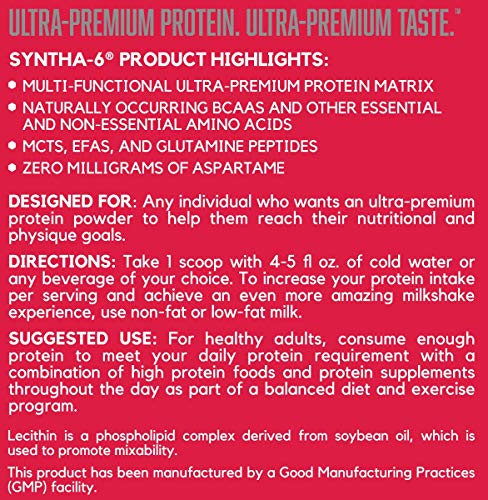 BSN SYNTHA-6 Whey Protein Powder, Micellar Casein, Milk Protein Isolate Powder, Vanilla Ice Cream, 48 Servings (Package May Vary)