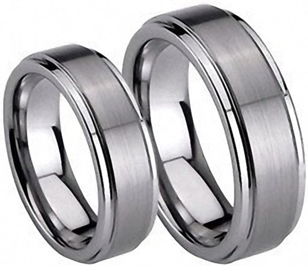 2 Ring Set 8mm His Max 59% OFF 6mm StepEdge Max 90% OFF Tungsten Matte Carbide Hers