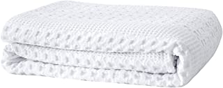 PHF Cotton Waffle Weave Blanket for All Season Home Decoration Cozy Soft Comfort Queen Size White