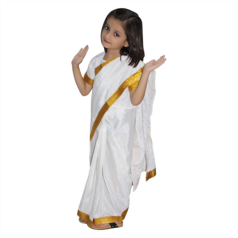Kaku Fancy Dresses Indian State Folk Dance White Saree Costume -Multicolor,  6-6 Years, for Girls
