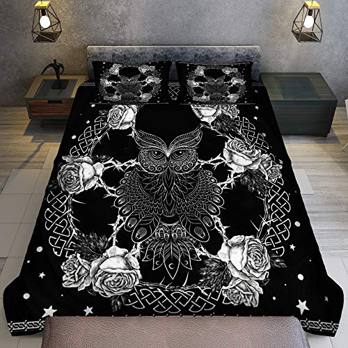 GANTEE Wicca Owl Magical Rose Pentagram Celtic Pagan - Bedding Sets Queen with Cover Duvet Cover Set Full Size