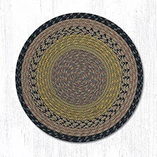 Earth Rugs Brown-Black-Charcoal Round Chair Pad