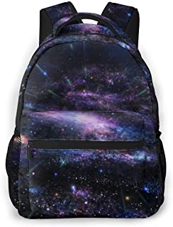 Purple Lights Cosmic Radiation School Backpack Casual Daypack Laptop Backpack For Boys And Girls