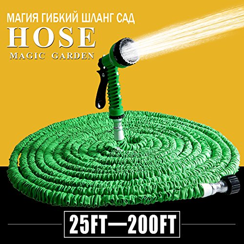 Beste verkoop 25FT Tuinslang 7 in 1 Magic Uitbreidbare Flexibele Waterslang Plastic Slangen Pijp Met Spray Gun Voor Watering