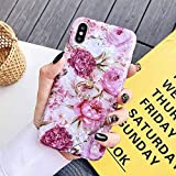 HUAI Caso de Shell Textura de la Flor del teléfono for el iPhone 11 Pro XR XS MAX 6 7 8 Plus 6S Suave IMD Dedo anular de Cristal Cubierta Trasera del teléfono (Color : H, Material : For iPhone 11)