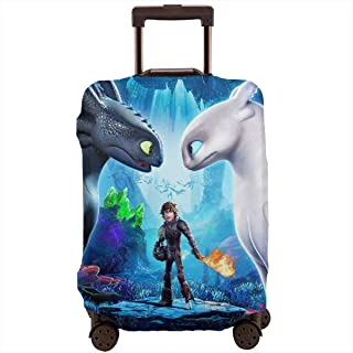 How To Tr-ain Yo-ur Dra-gon Elastic Travel Luggage Cover,Double Print Fashion Washable Suitcase Protective Cover Fits M(Suitable for 22