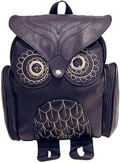 Young & Forever Women's Black Owl Fashion Backpack Handbag