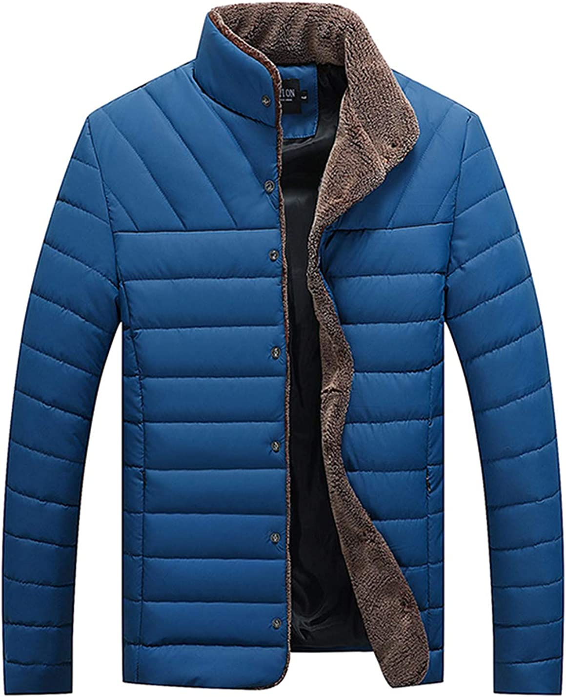 Yeokou Mens Slim Solid Cotton Padded Short Quilted Pu Faux Leather Jacket Outwear