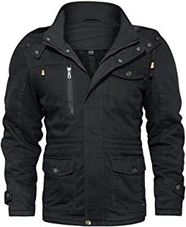 Mens Outdoor Jackets Winter Parka Military Coat with Removable Hood Cargo Jacket