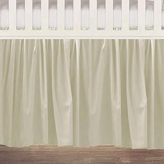 Cream Cotton Ruffled Crib Skirt 16 Inch Drop 3 Sided