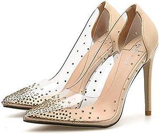 Women's Rhinestone Stiletto Sandals,Summer Transparent Thin Heels,Ladies Wedding Comfy Wild Dress Sandals Pumps Pointed Sandals