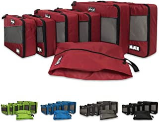 ATACAT 6 Set Packing Cubes,3 Various Sizes Travel Luggage Packing Organizers with with Shoes Bag (Red)