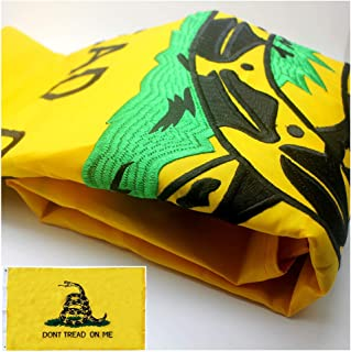 VSVO Embroidered Gadsden Flag (Don't Tread On Me) 3x5ft with Long Lasting 300D Nylon, Double Sewn Stripes and Brass Grommets, UV Protected