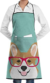 Teagan Glasses Corgi Cute Puppy Welsh Corgi Gifts for Dog Lovers and Pet Owners Love Corgi Puppies Unisex Kitchen Chef Apron Adjustable with Pockets for Cooking Baking Crafting Gardening and BBQ