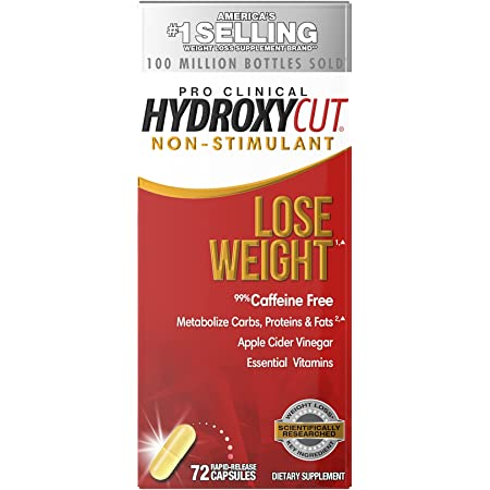 Weight Loss Pills for Women & Men   Hydroxycut Non Stimulant Pro Clinical   Non Stim Weight Loss Supplement Pills   Apple Cider Vinegar to Lose Weight   Metabolism Booster for Weight Loss, 72 Capsules