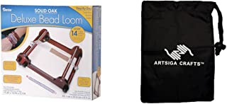 Darice DIY Crafts Supplies Jewelry Making Loom Deluxe Bead Loom Solid Oak 15 x 14 x 3.5 inches (1 Pack) 1100 97 Bundle with 1 Artsiga Crafts Small Bag