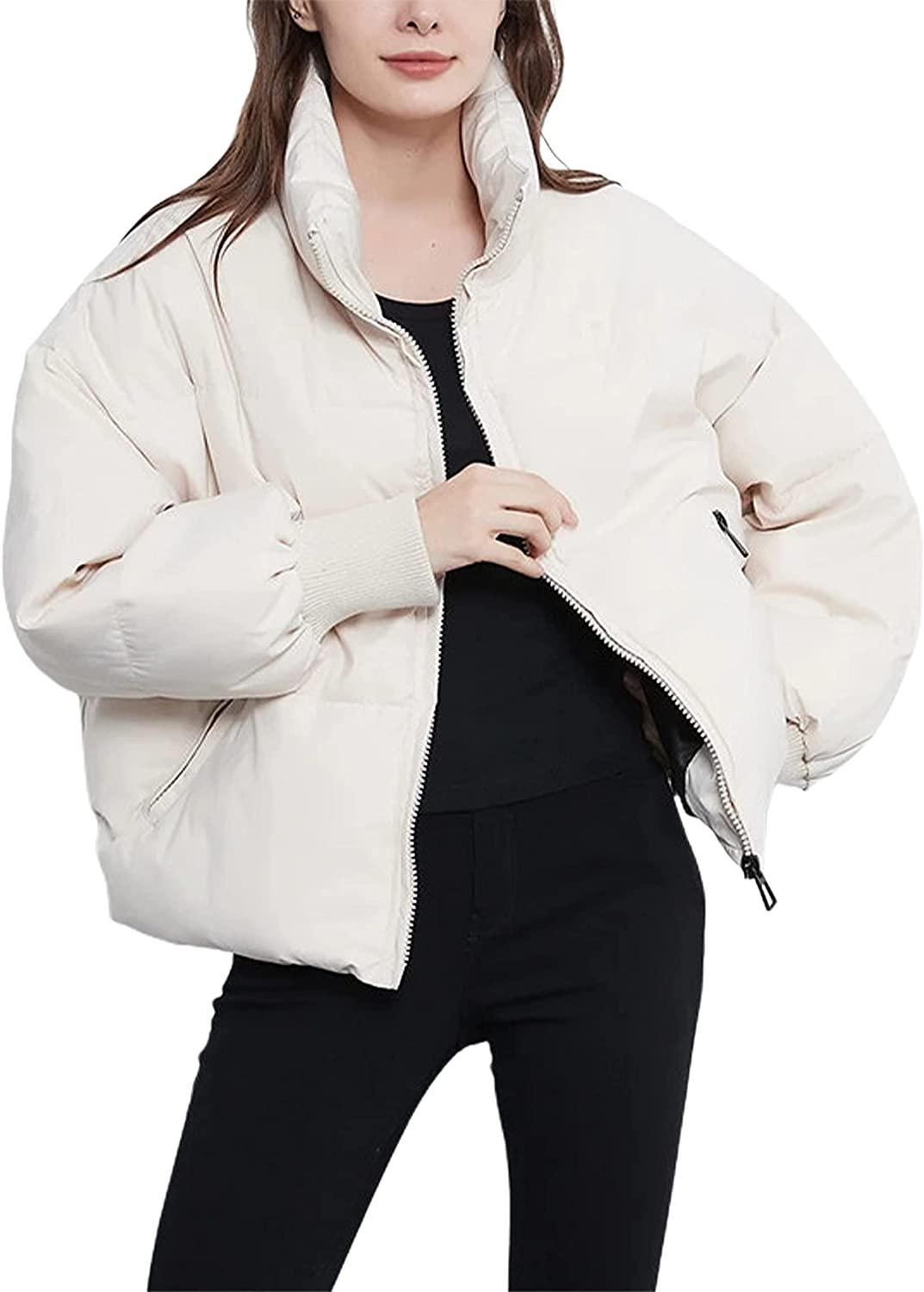 Ailoqing Padded Puffer Jacket for Women Winter Stand Collar Full Zipper Quilted Outerwear