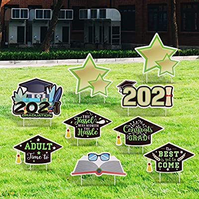 FiGoal 2021 Graduation Yard Sign Decorations Corrugated Yard Stake Signs Outdoor Decorations with Stakes Yard Signs for Graduation Yard/Lawn Decorations (9 PCS)(Green)