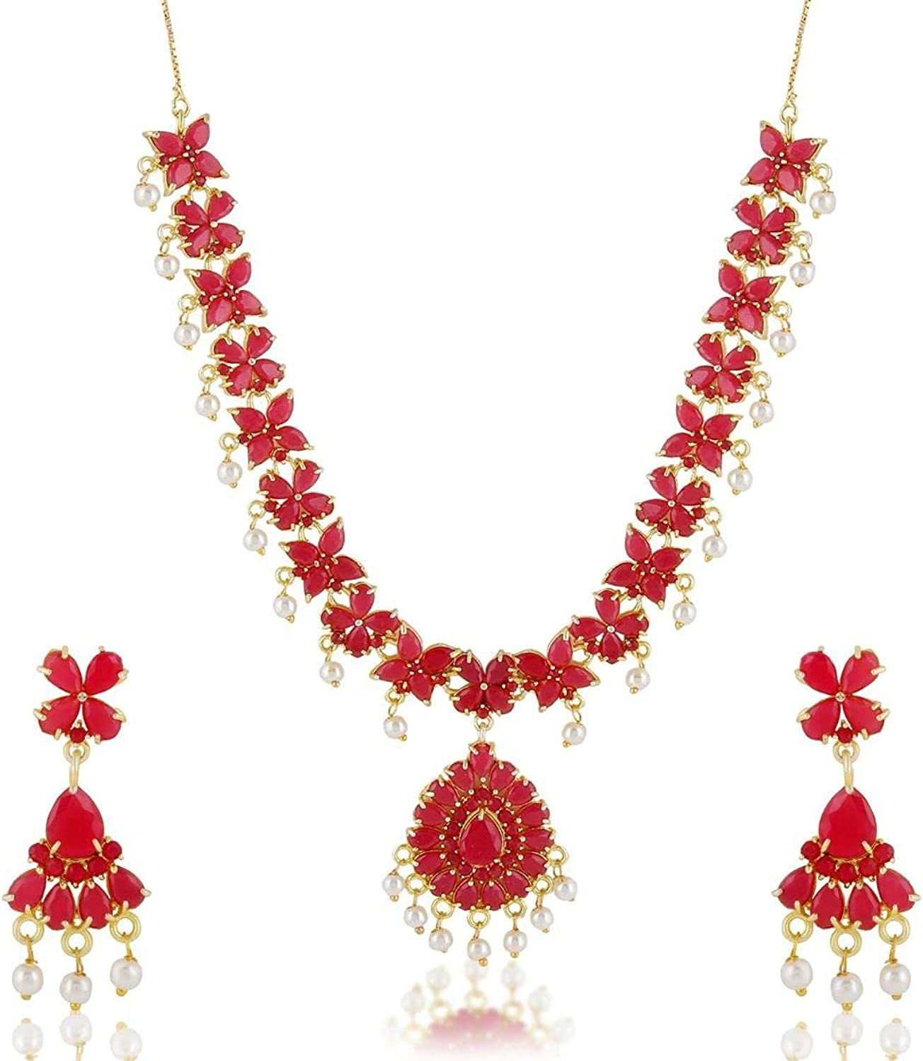 Efulgenz Indian Bollywood Gold Plated Pink Crystal Rhinestone Faux Pearl Choker Pendant Necklace Dangle Earring Jewelry Set