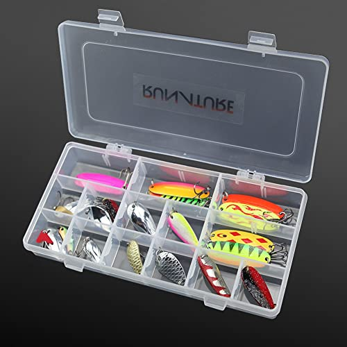 RUNATURE Trout Spinners Fishing Spoons Metal Lures Kit Colourful Multiple Fishing Spinner Artificial Baits Tackle Set for Freshwater Saltwater Fishing in Fishing Seat Box with Compartments