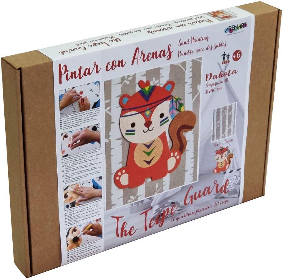 Arenart | Lámina Tridimensional de Mascota Dakota 30x38cm| para Pintar con Arenas de Colores | Manualidades para Niños | Dibujo Infantil | Pintar por números | +6 años