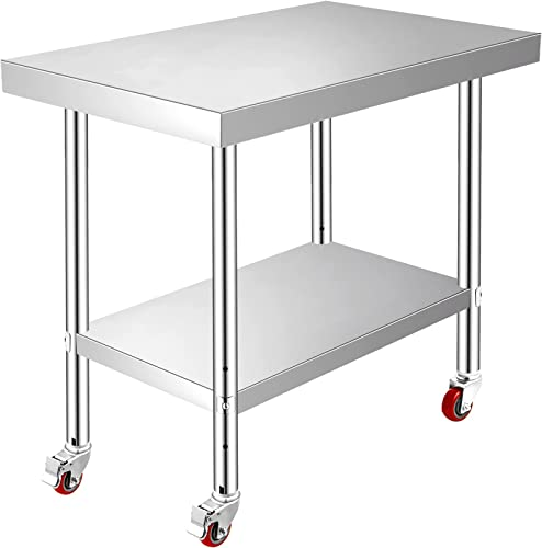 wholesale Mophorn high quality Stainless Steel Work Table with Wheels 24 x 30 Prep Table with casters Heavy Duty Work Table 2021 for Commercial Kitchen Restaurant Business (24 x 30 x 32 Inch) outlet online sale