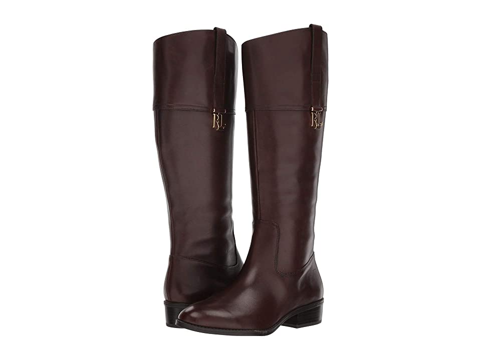 LAUREN Ralph Lauren Merrie Wide Calf (Dark Brown Burnished Calf) Women