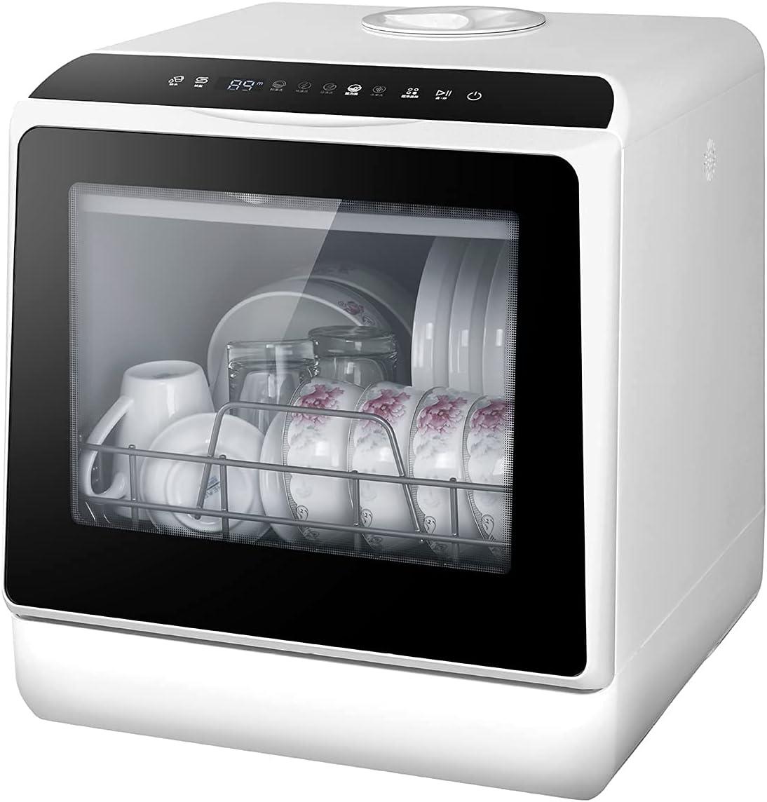 MOSHUO Lavavajillas portátil, lavavajillas automático de Escritorio pequeño, desinfección y esterilización a Alta Temperatura de Gran Capacidad, Apto para Lavar Platos, Frutas y Verduras