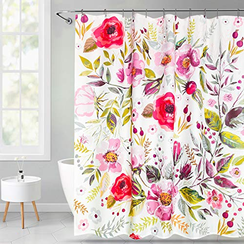 VVA Floral Fabric Shower Curtain with Hooks for Bathroom Vintage Floral Theme Peony Hand Drawn Romantic Flowers and Leaves Illustration Artwork Light Pink Red Waterproof Machine Washable72x72inch