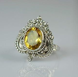 Anello in argento citrino 925 gioielli fatti a mano in argento massiccio taglia 6 a 31 IT